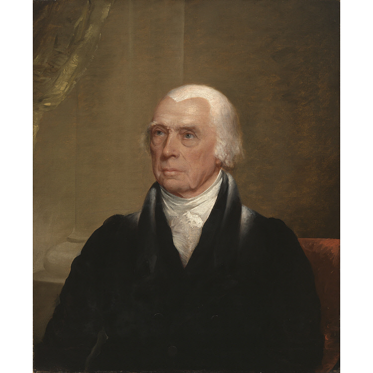 James Madison circa 1829-1839, portrait by Chester Harding.  National Portrait Gallery