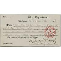 War Department Pass, November 25, 1864