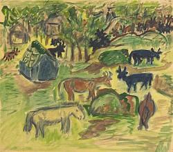 Pastoral Scene--Animals, Cabins, Trees