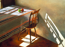 Striped Tablecloth with Two Apples