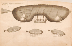 Coupe oblique de l'Aërostat sur les dimentions de la Fig.e 1.re. dans laqelle toutes les manœuvres interieures sont aperçues.