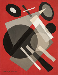 Suprematism: Geometric Shapes in Space on Red Background