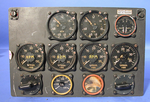 Instrument Panel, Heinkel He 177, Righthand Console, Engine instruments