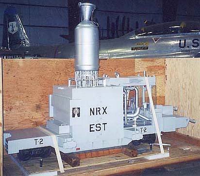 Model, Rocket Engine, NERVA Nuclear, on Moveable Test Stand, On Rails, 1:8 Scale