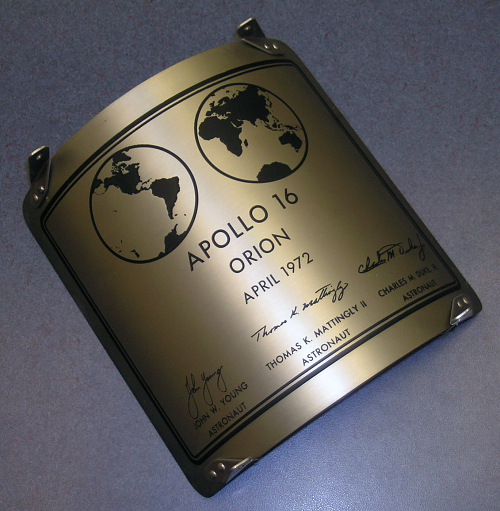 Plaque, Lunar Module, Apollo 16