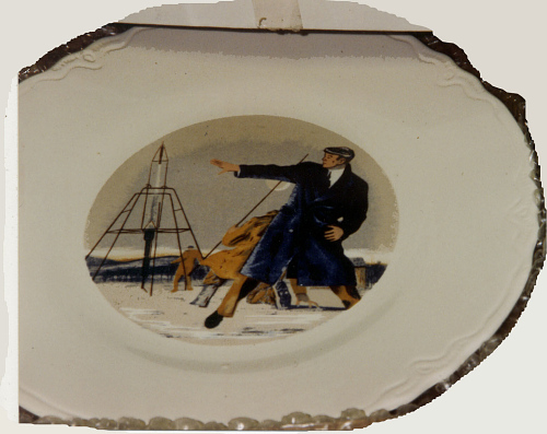 Plate, Ceramic, Commemorative, First Liquid Fuel Rocket Flight, R.H. Goddard