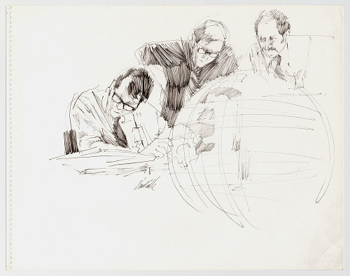 Three Men Behind a Globe