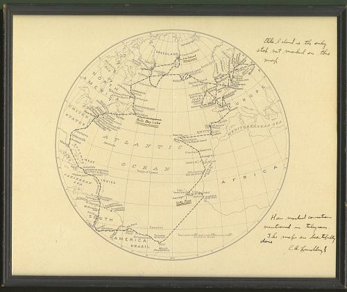 Frame, Map, 1933 Atlantic Flight, Charles A. Lindbergh & Anne Morrow Lindbergh