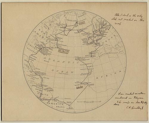 Map, 1933 Atlantic Flight, Charles A. Lindbergh & Anne Morrow Lindbergh