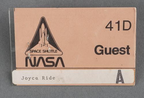 Badge, NASA Guest, STS-41D, Joyce Ride, Sally Ride