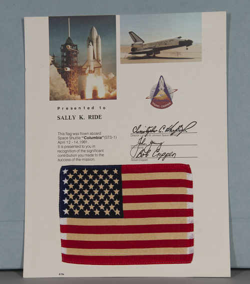 Flag, United States, Flown on STS-1, Sally Ride