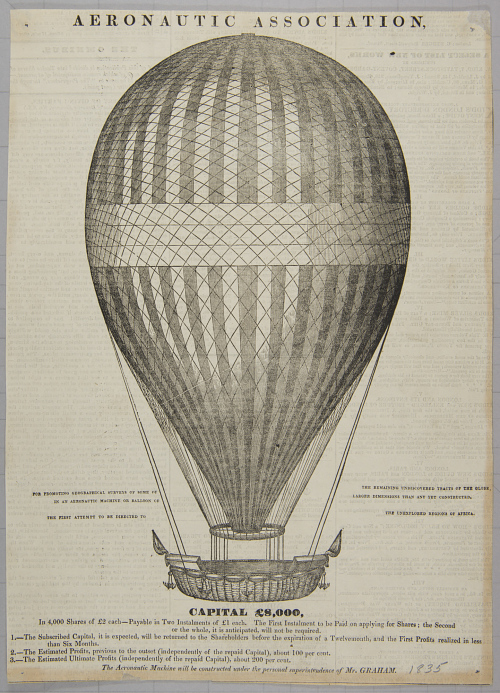 Aeronautic Association, For Promoting Geographical Surveys of Some of The Remaining Undiscovered Tracts of the Globe, in an Aeronautic Machine or Balloon of Larger Dimensions Than Any Yet Constructed. The First Attempt to be Directed to the Unexplored Regions of Africa. Capital £8,000... Stock Offering