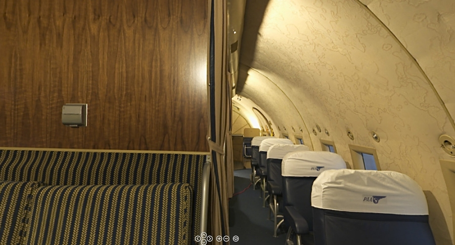 Panoramic photograph of Boeing 307 Stratoliner Passenger Cabin