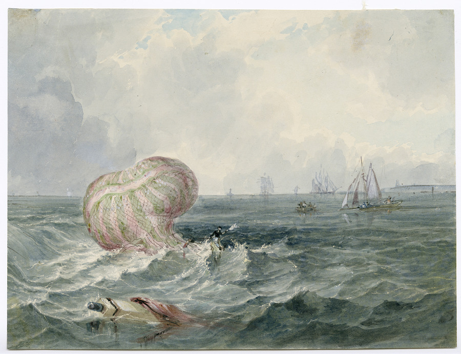 1810. Mr. Sadler ascended from Bristol on which occasion he fell in the sea where he was rescued from his perilous situation by vessel.