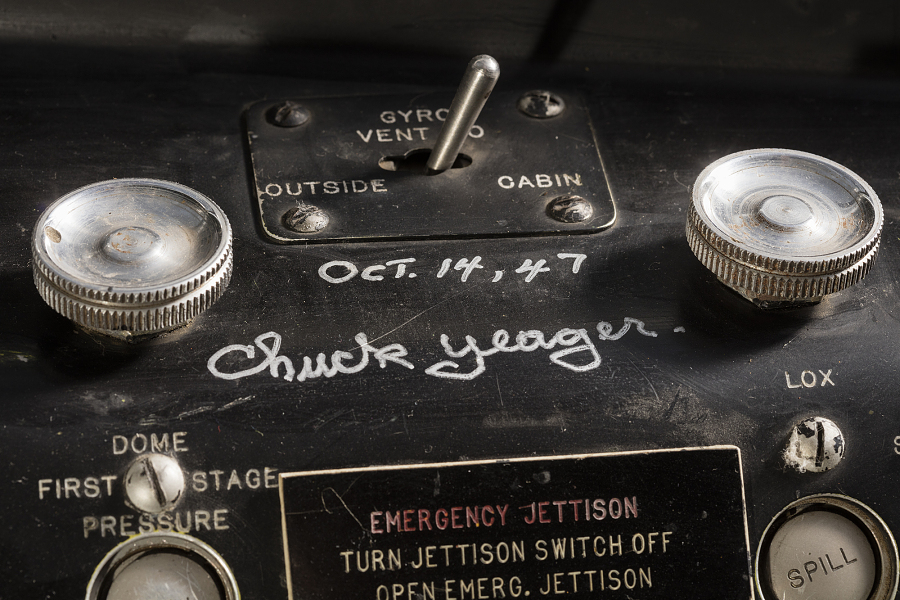 Close-up view of Chuck Yeager's signature inside cockpit of Bell X-1, dated Oct 14, 1947.