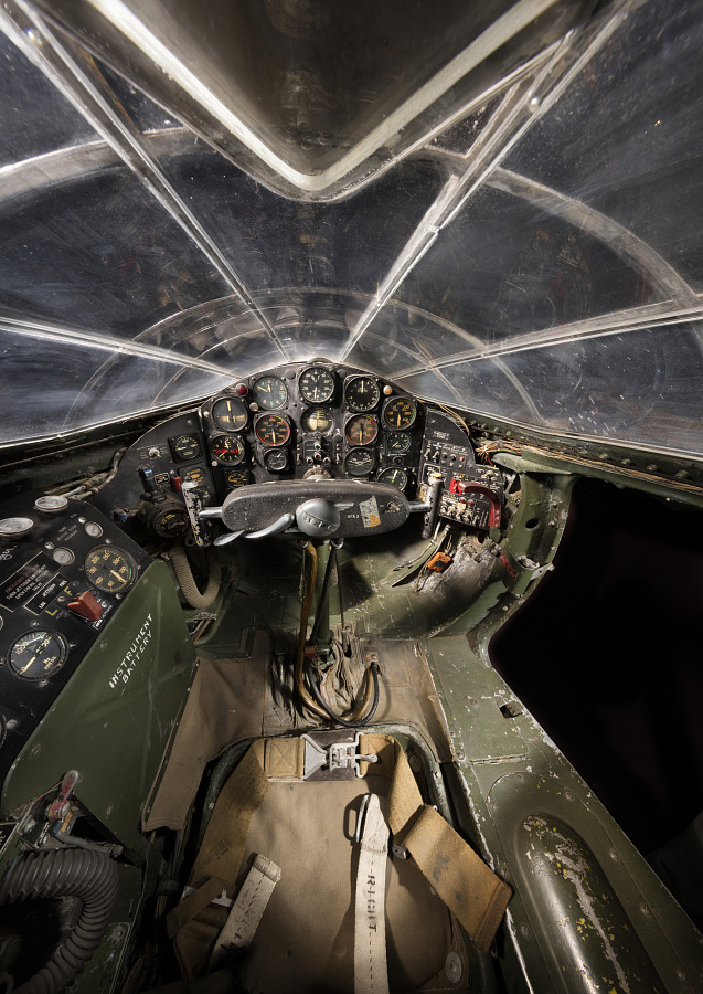 Interior view of enclosed cabin and flight instruments in the Bell X-1