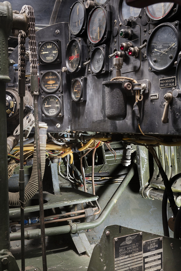 Partial view of flight instruments in the cockpit of the Bell X-1
