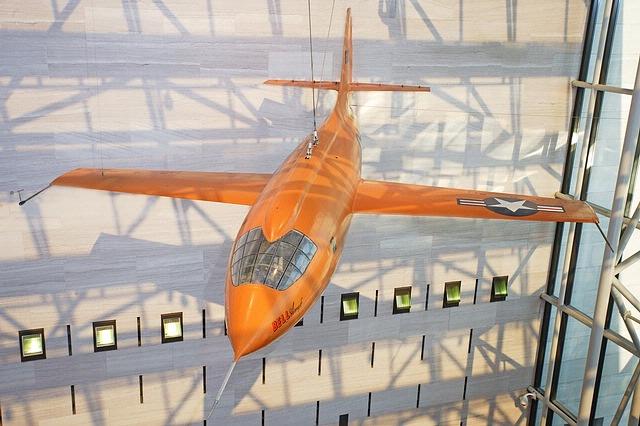 Bell X-1 <em>Glamorous Glennis</em> Hanging in the Boeing Milestones of Flight Hall