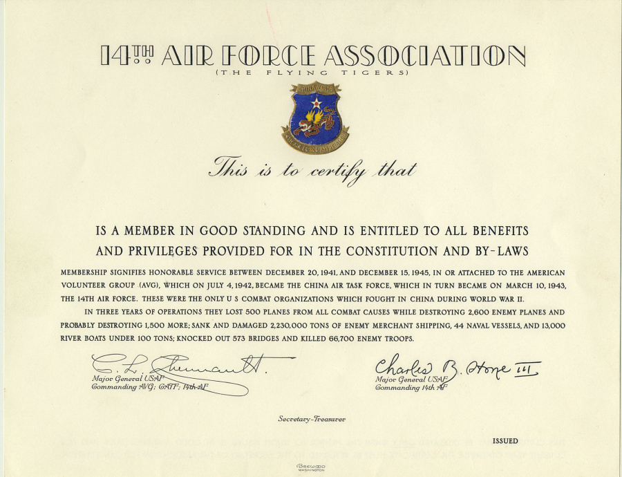 Certificate, 14th Air Force Association