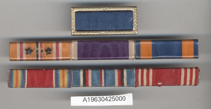 Ribbon Bar, WWII Victory, American Campaign, and Army Good Conduct Medals