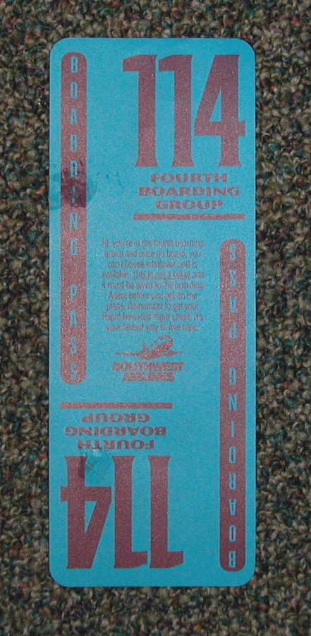 Boarding Pass, Southwest Airlines, Light Blue