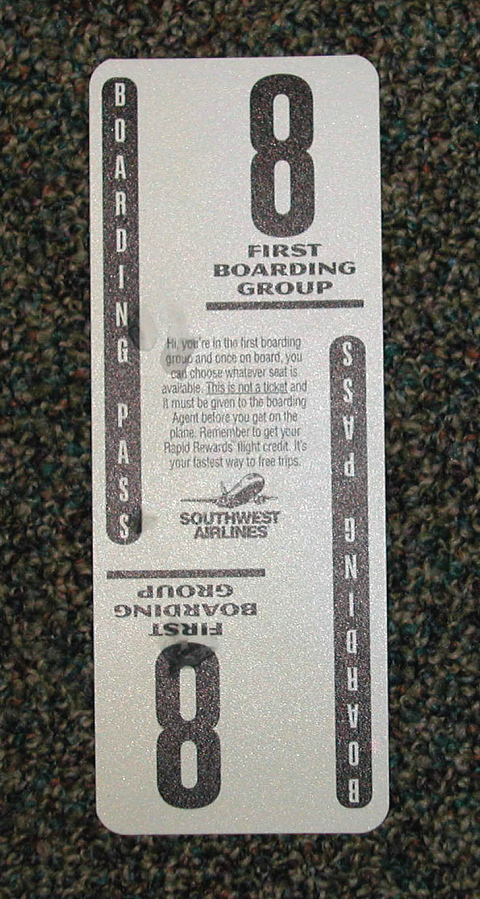 Boarding Pass, Southwest Airlines, White