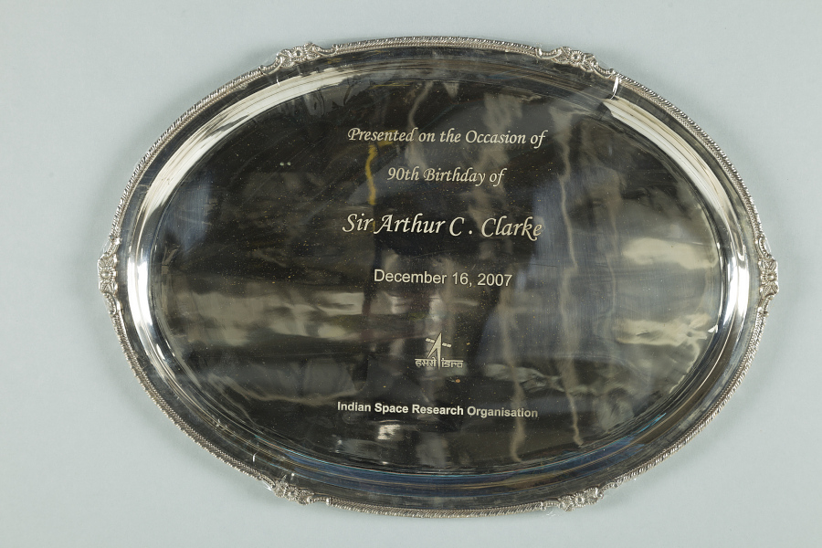 Tray, Commemorative, Indian Space Research Organization to Arthur C. Clarke