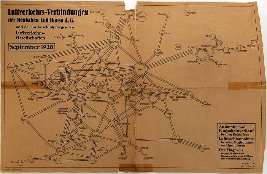 Luftverkehrs-Verbindungen der Deutschen Luft Hansa 1926