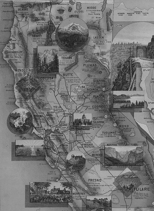 The Unique Map of California, by E. McD. Johnston, 1888