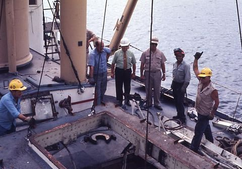The Oak's engine in situ. An opening was cut in the ship's deck to remove the engine, 1971.