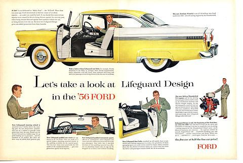 Ad for the 1956 Ford with optional safety hardware