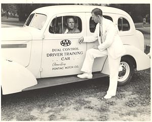 Amos Neyhart (right) during a driving instructor class sponsored by the American Automobile Association