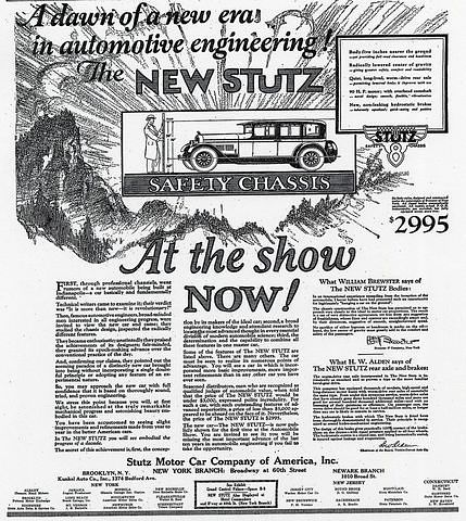 Ad for the 1926 Stutz with anti-sway protection