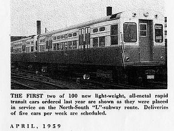 """Start Delivery on 100 New Rapid Transit Cars"", in CTA Transit News, April 1959"