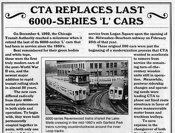 CTA Replaces Last 6000-series 'L' Cars, 1992