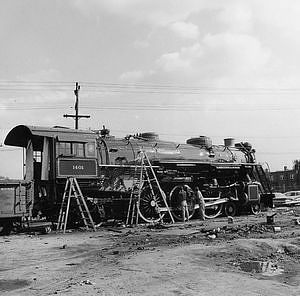 Locomotive on spur at Shelton Paint Shop before moving to the Navy Yard