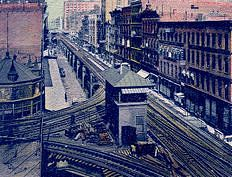 "Wabash Avenue ""L"" looking north from Van Buren Street, Chicago, about 1905"
