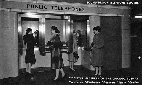 Sound-Proof Telephone Booths/ Star Features of the Chicago Subway/ Ventilation, Illumination, Escalators, Safety, Comfort, about 1943