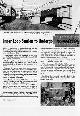 Inner Loop Station to Undergo Remodeling, 1954 From CTA Transit News, August 1954.