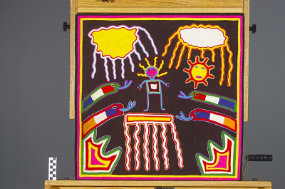 Yarn painting depicting rain and serpents