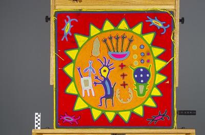 Yarn painting depicting children's Tatei Neixa ceremony
