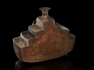 Vessel representing terraced agricultural fields