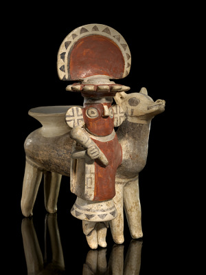 Vessel in the form of a man with a llama