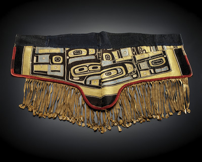 Man's apron made from a Chilkat blanket representing a diving whale