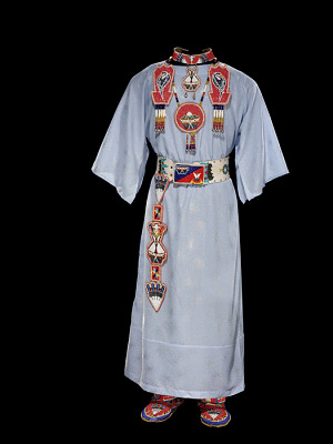 Dress and accessories with Native American Church designs