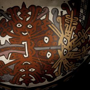 images for Double-spout-and-bridge bottle depicting faces and centipedes-thumbnail 5