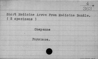 Arrow from a medicine bundle