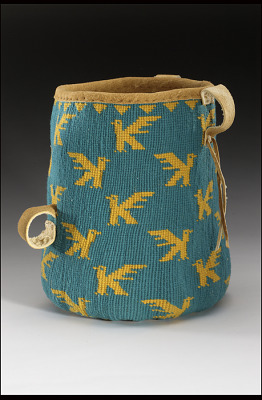Basket worn at a woman's waist when picking berries or digging roots