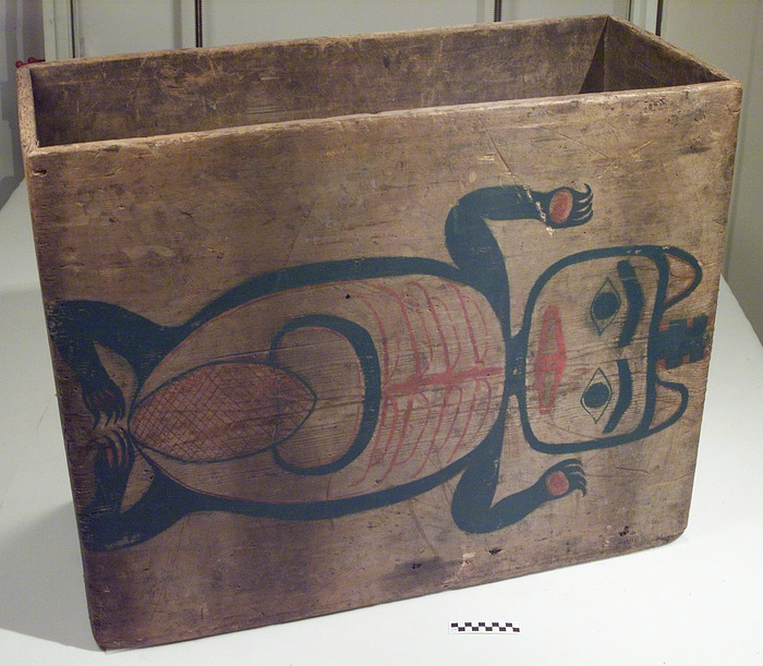 Image 1 for Box drum with beaver and halibut designs