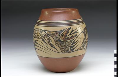 Jar with avanyu/water serpent design